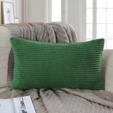 Ashler Corduroy Soft Velvet Striped Solid Square Throw Pillow Covers Cushion Cases 12 x 20 Inch Green