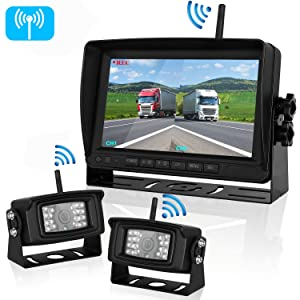 Upgraded Dual Digital Wireless Backup Camera High-Speed Observation System 7'' Monitor Split Screen Recorder DVR for RV/Pickup/Truck/Trailers/5th Wheel Driving&Reversing IP69K Waterproof Night Vision