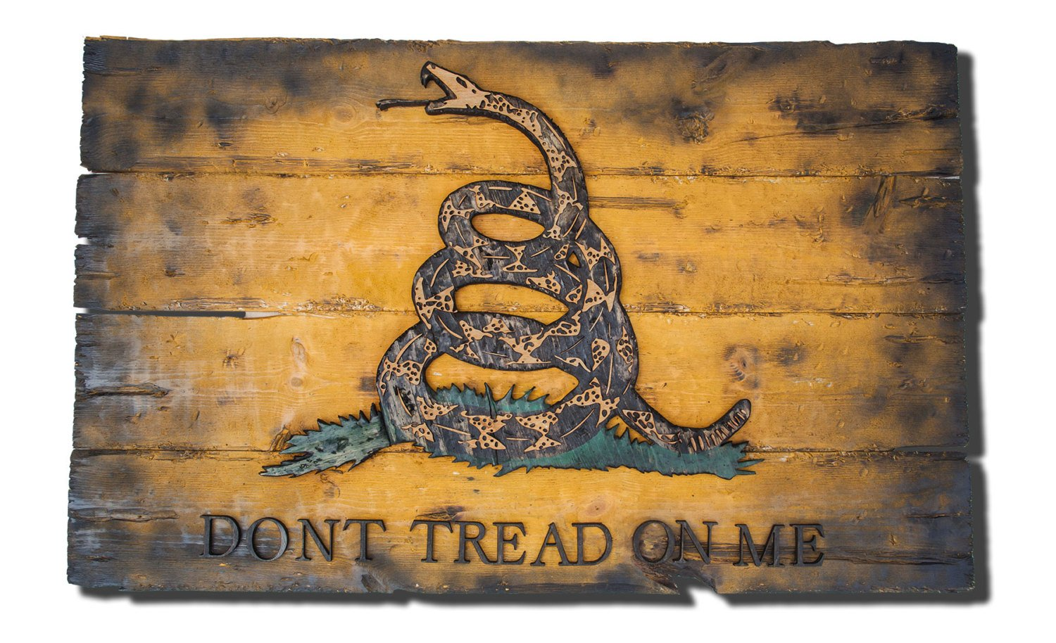 Gadsden Flag Don T Tread On Me Limited Edition Weathered Wood One Of A Kind Vintage Art Distressed Weathered Recycled Snake Yellow Handmade