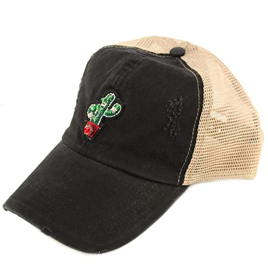 ae4136ff493 Summer 3D Rhinestones Distressed Mesh Trucker Baseball Ball Cap Hat Cactus  (Black)