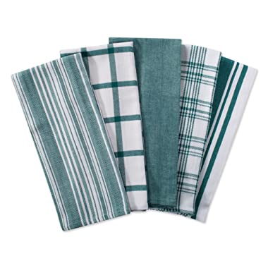 DII Kitchen Dish Towels (Teal, 18x28 ), Ultra Absorbent & Fast Drying, Professional Grade Cotton Tea Towels for Everyday Cooking and Baking -  Assorted Patterns, Set of 5