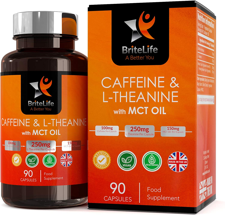 Caféine Comprimé, avec L-Théanine et Huile de MCT | BriteLife | Favorise la céto-adaptation et favorise l'énergie tout au long de la journée | Acuité & Concentration | 90 Pilules Végétaliennes