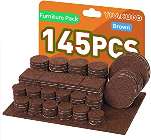 Furniture Pads, 145 Piece Felt Furniture Pads, Anti Slip and Scratch Floor Protector for Furniture Legs, Chair Leg Protectors for Hardwood Floors, Protect Your Hardwood & Laminate Flooring (Brown)