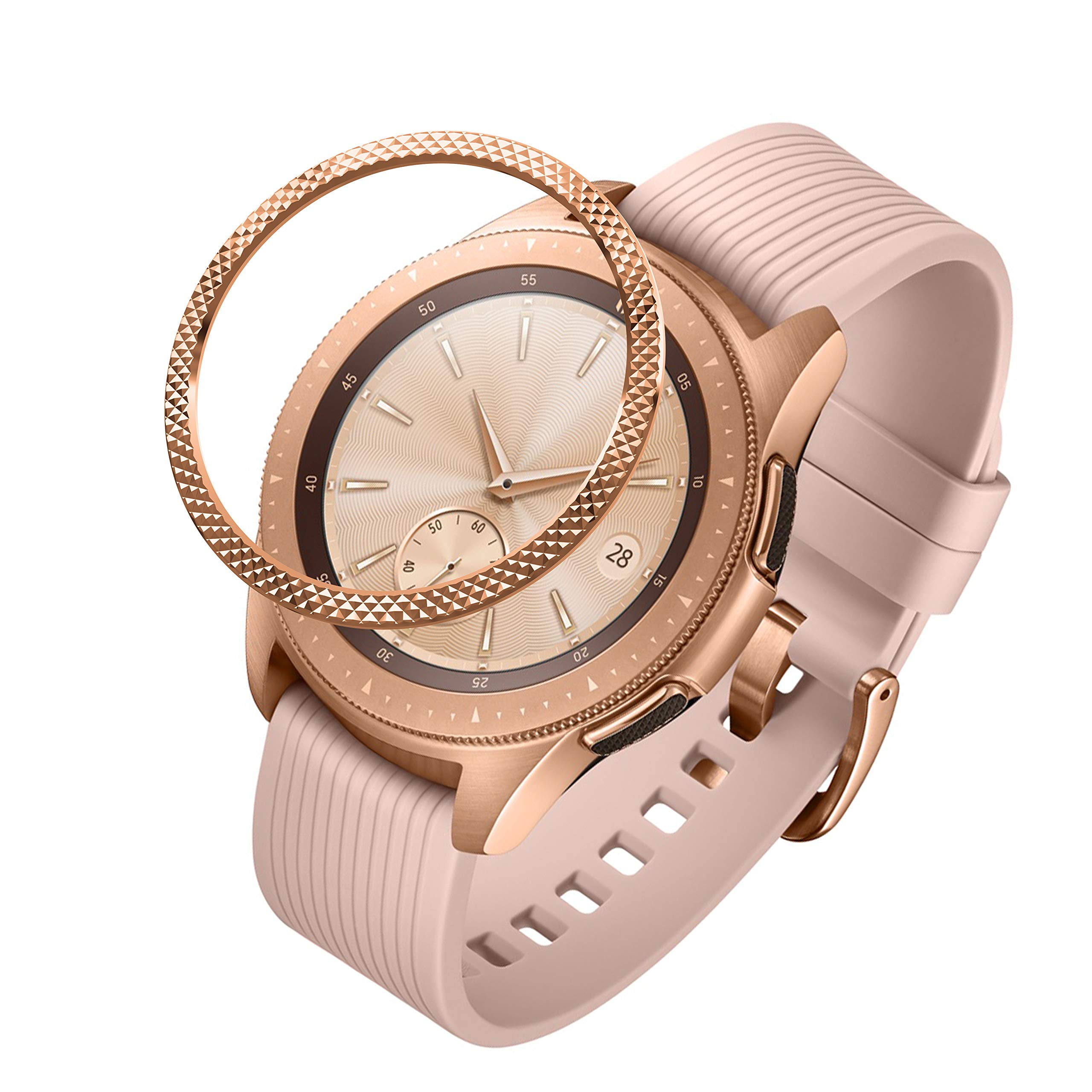 GELISHI Stainless Steel Bezel Ring Compatiable Galaxy Watch 42mm/Gear Sport, Fashion Bezel Ring Adhesive Cover Anti Scratch & Collision Protector for Galaxy Watch Accessory - Rose Gold by GELISHI