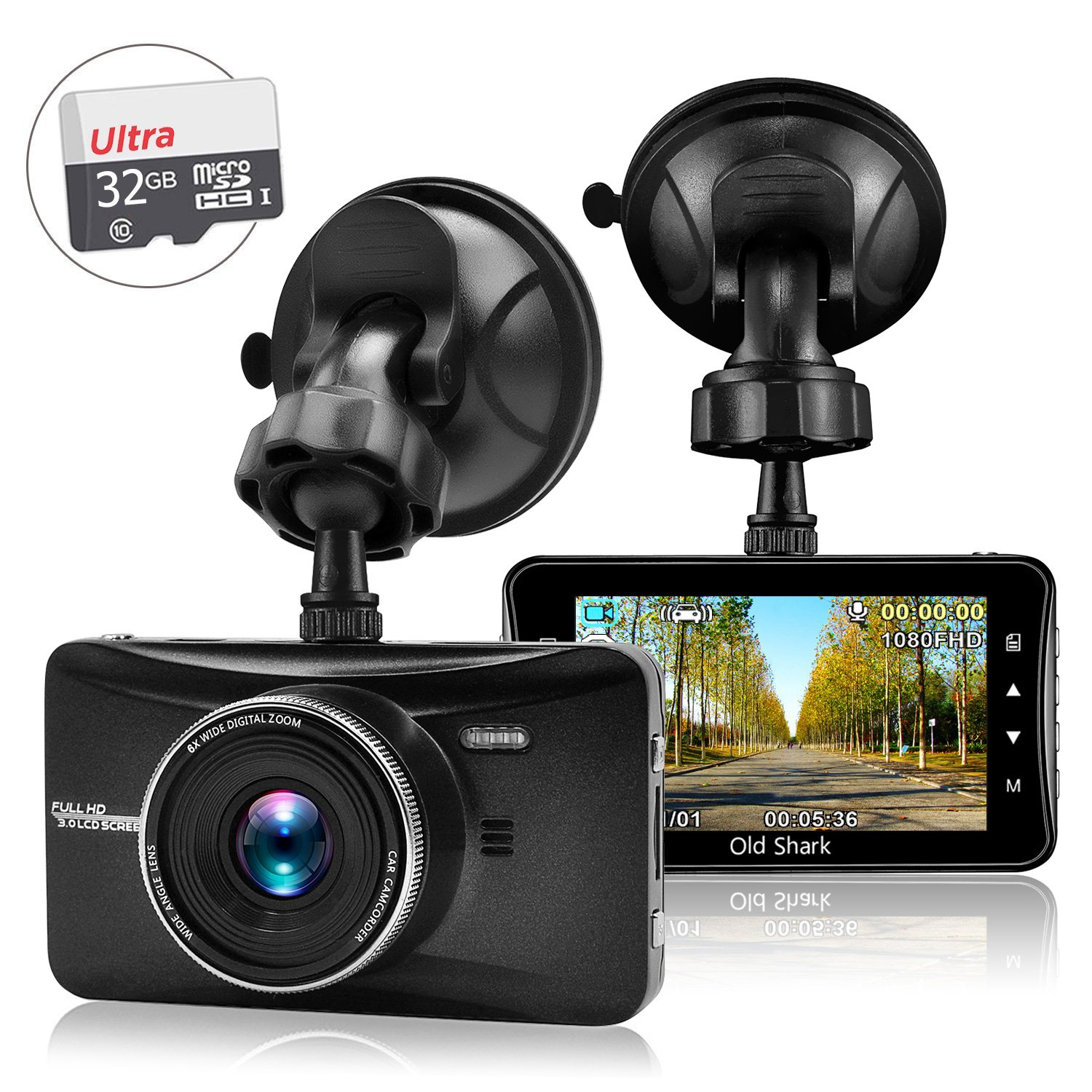 Amazon com oldshark 3 1080p dash cam with 32gb card 170 wide angle car on dash video g sensor night vision wdr parking guard loop recording