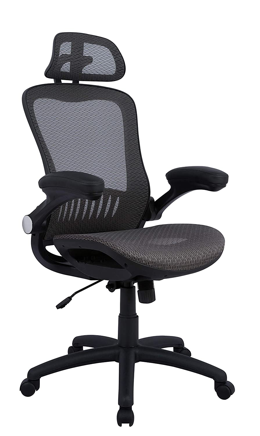 AmazonBasics - Adjustable High-Back Mesh Chair with Flip-up Arms and Head Rest – Grey