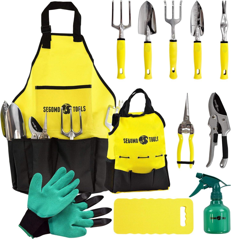 Segomo Tools 12 Piece Garden Tool Set (Rake, Cultivator, Pruning & Snipping Shears, Weeder, Trowel, Transplanter, Gloves, Kneeling Pad, Spray Bottle, Apron, Tote Bag) - GTS12