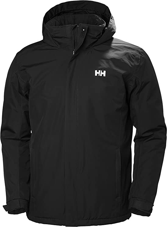 Photo of a jacket in black color, with collar protection and a hood not fully extended.