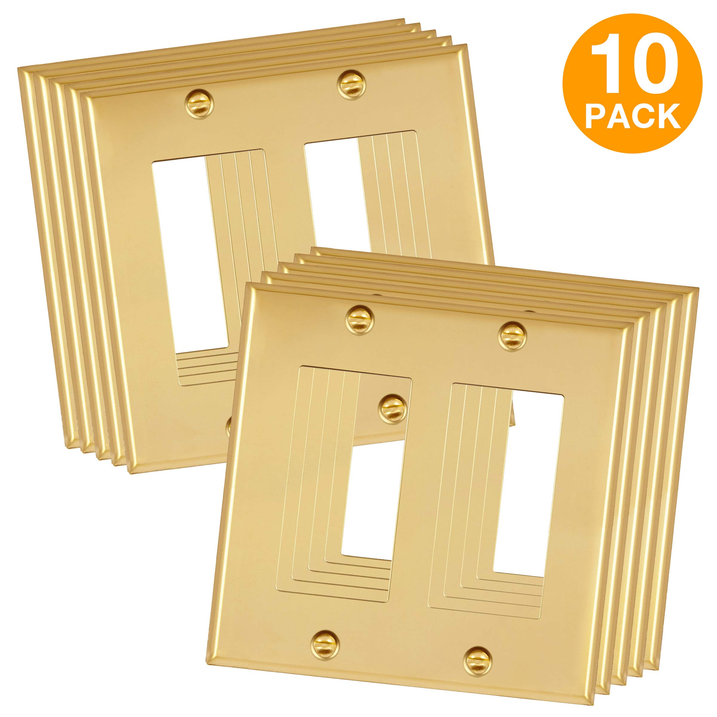 ENERLITES Decorator Switch/Outlet Metal Wall Plate, Corrosive Resistant, Size 2-Gang 4.50'' x 4.57'', 7732-PB-10PCS, 302 Polished Brass (10 Pack)