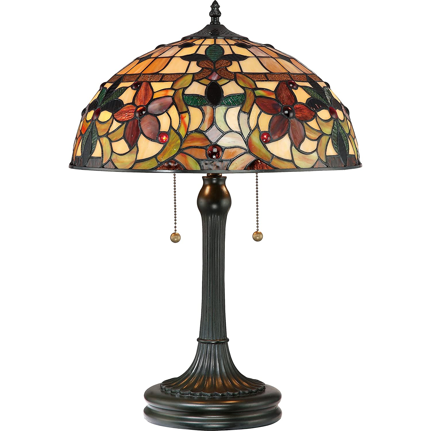 Quoizel TF878T Kami 2 Light Tiffany Table Lamp Vintage Bronze