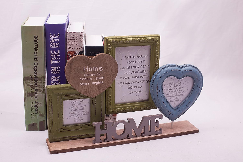 Amazon.com: LVEA Vintage Wooden Triple Picture Photo Frame Tabletop ...
