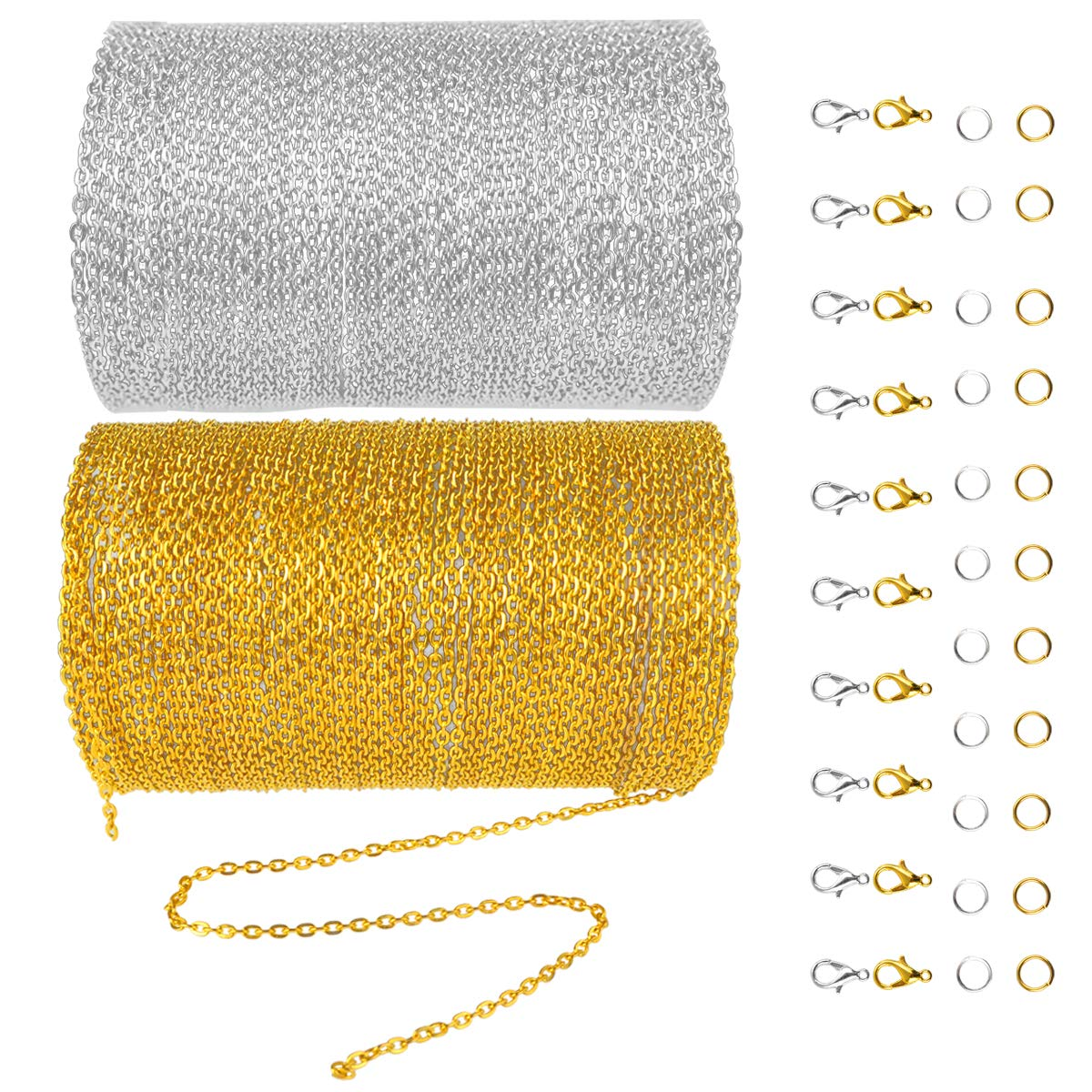 Miayon 33 Feet Metal Link Chain Necklaces with 20 Lobster Clasps and 30 Jump Rings for DIY Jewelry Making, Silver and Gold, 2mm) Cable-Chain