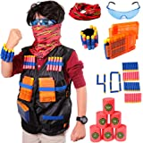Aveilo Tactical Vest Kit For Nerf Guns N-Strike Elite Series, 40 Refill Soft Tip Darts, 6 Bullet Target Foam Cans, 2 Reload Clips, Protective Glasses, Mask, Wrist Band - Full And Premium Package