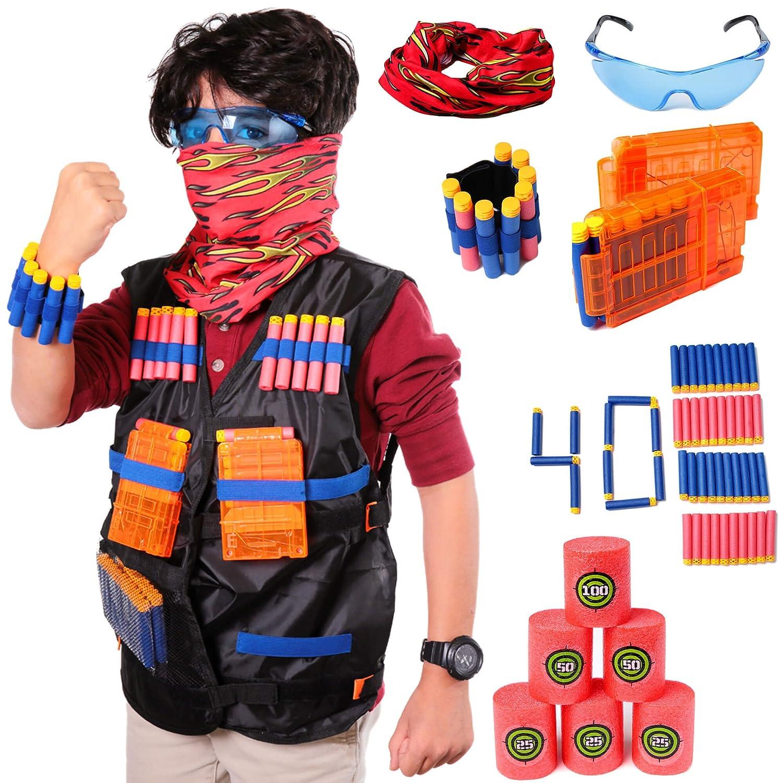 Aveilo Tactical Vest Kit For Nerf Guns N Strike Elite Series 40 Reload 1500 Refill Soft