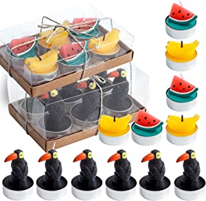 EMOHOME 12 Pieces Watermelon Banana Toucan Tealight Candles for Birthday Gifts, Dinner Garden Wedding Party Spa Home Decoration