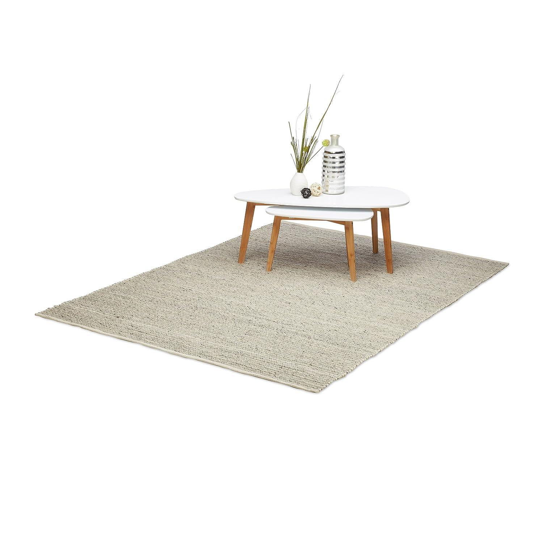 Relaxdays Wohnzimmerteppich beige, Webteppich aus Wolle und Baumwolle, handgewebter Wollteppich, 160 x 230 cm, natur