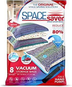 Spacesaver Premium Vacuum Storage Bags. 80% More Storage! Hand-Pump for Travel! Double-Zip Seal and Triple Seal Turbo-Valve for Max Space Saving! (Medium 8 Pack)