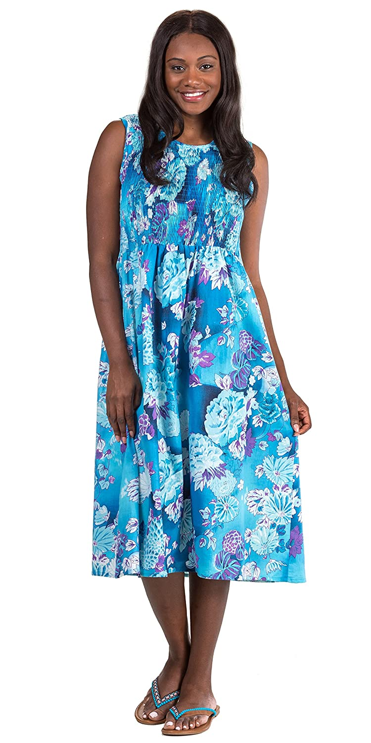 0d0a58d68 Metropolitan Plus Size Sleeveless Cotton Smocked Sundress in Gentle Waters  at Amazon Women's Clothing store: