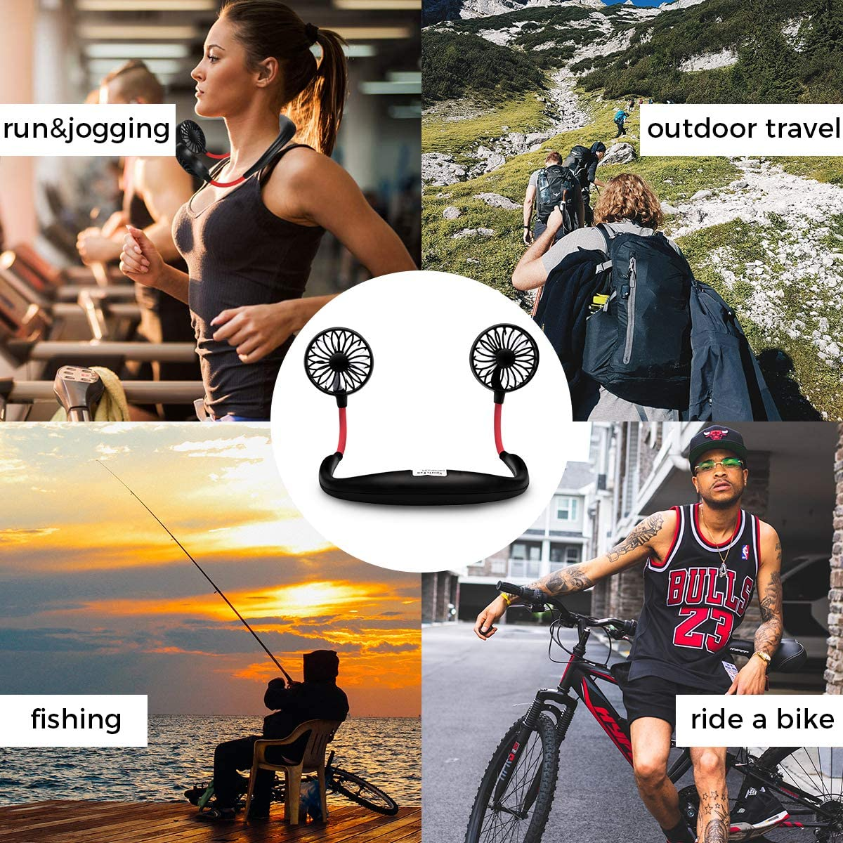 USB Neckband Fan Rechargeable Hand Free Personal Fan with Dual Wind Head Fan Wearable Fan for Camping Traveling