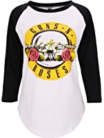 DREAGAL Women's 3/4 Sleeve Rock Band Guns N' Roses Print T Shirt Top