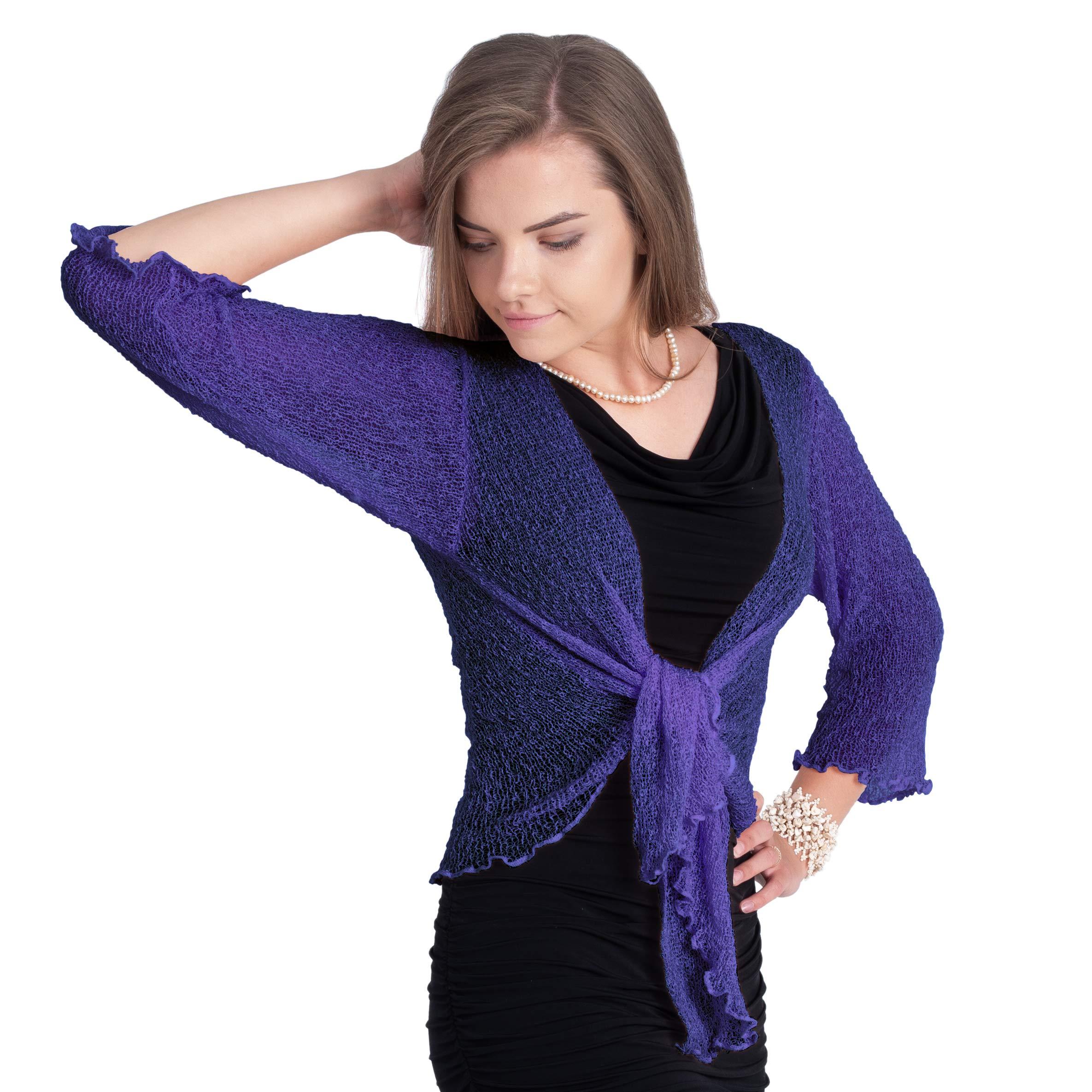 Boho Village Lightweight Cardigans for Women - 3/4 Sleeve Shrugs for Dresses. Navy Blue/Dark Blue S-XL