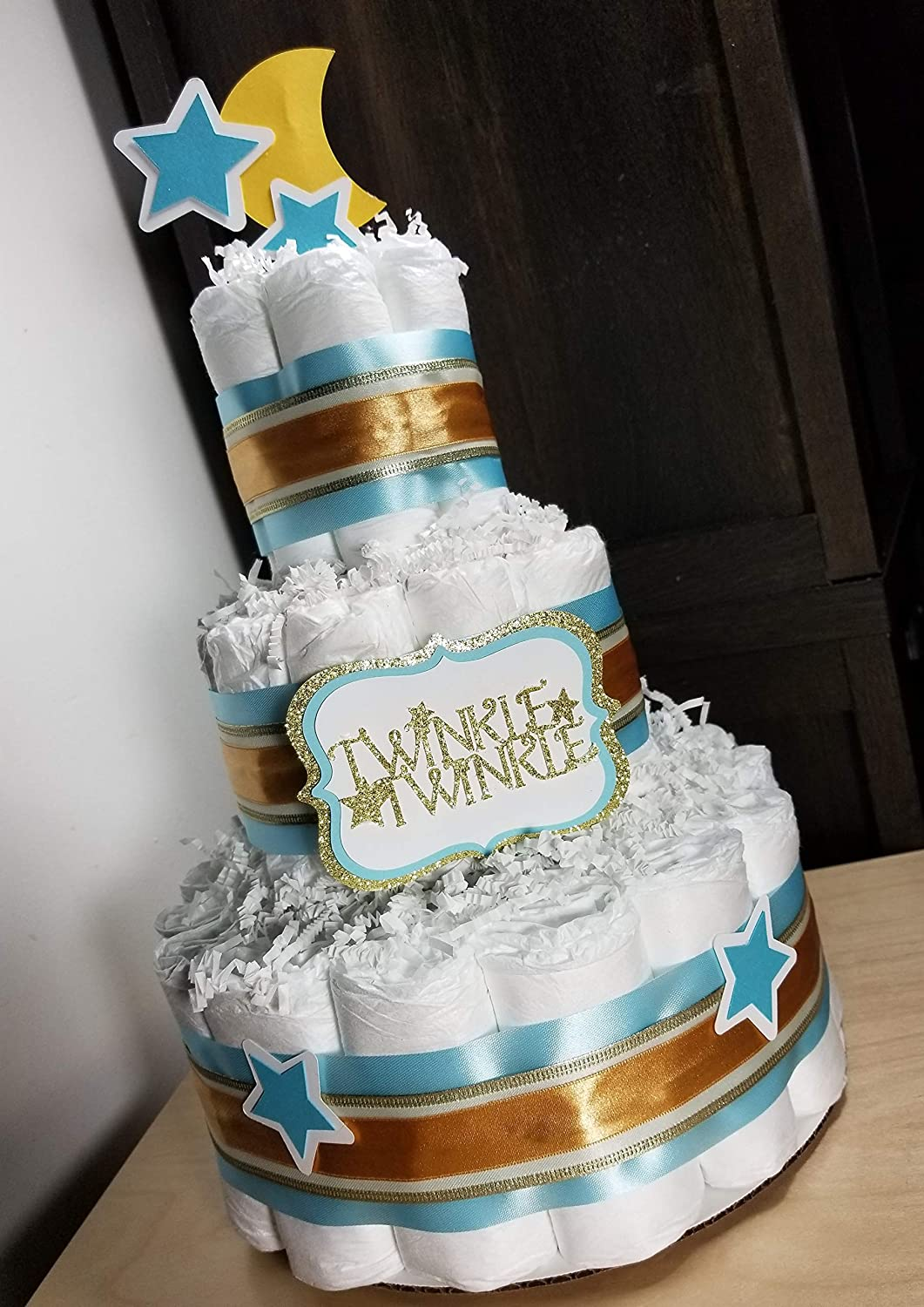 Twinkle Twinkle Blue and Silver with Moon and Stars 3 Tier Diaper Cake