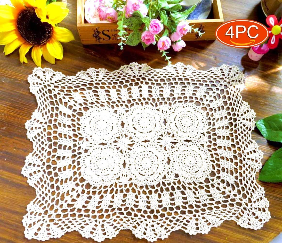 Elesa Miracle 14x18 Inch 4pc Handmade Rectangle Crochet Cotton Lace Table Placemats Sofa Doilies Value Pack, Rectangle, White (White)