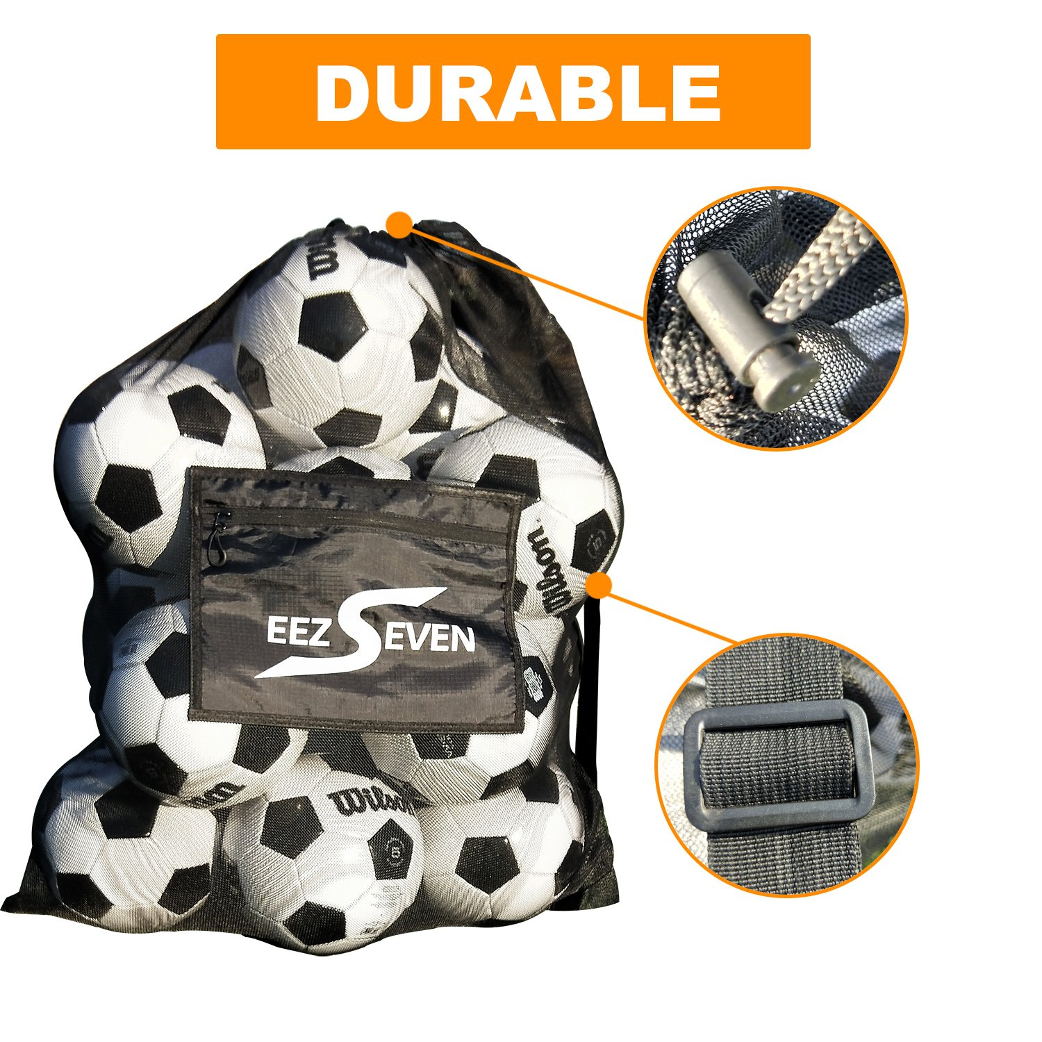Heavy Duty Extra Large Ball Mesh Bag Soccer Ball Bag Equipment Bag For Sports Beach and Swimming Gears. Adjustable Shoulder Strap For Adults and Kids. Side Pocket for Your Personal Item 30 x 40 Inches by EEZSEVEN (Image #3)