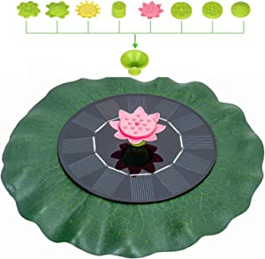 Solar Water Pond Fountain - Lotus Leaf Solar Fountain Pump Floating Solar Powered with ten nozzles Fountain Pumps Submersible Outdoor for Bird Bath Small Pond Swimming Pool Garden Patio and Lawn