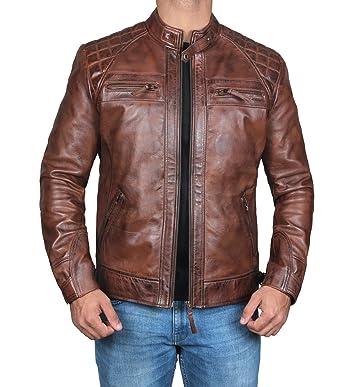Mens Classic Vintage Distressed Dark Brown Leather Jacket