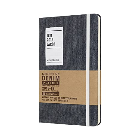 Moleskine Limited Edition Denim Collection 18 Month 2018-2019 Weekly Planner, Hard Cover, Large (5