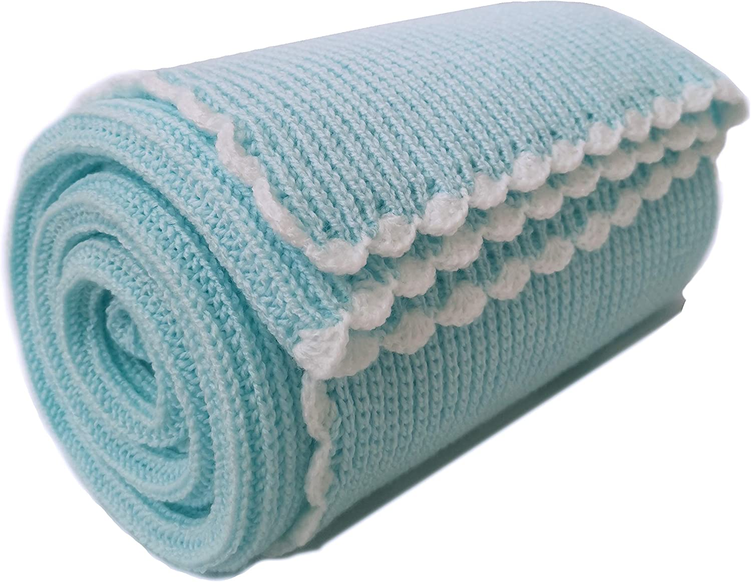 The Knit Wit Handmade Knitted Baby Cellular Blankets Small, Aqua