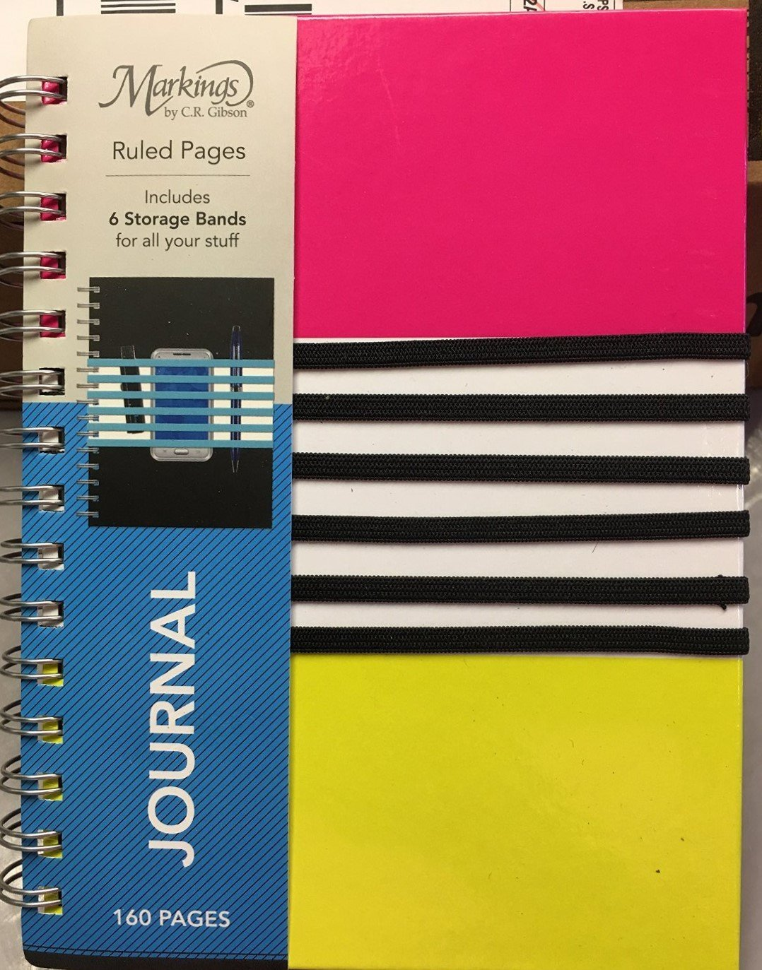 Markings Journal Notebook Pink Black 160 Ruled Pages Storage Bands