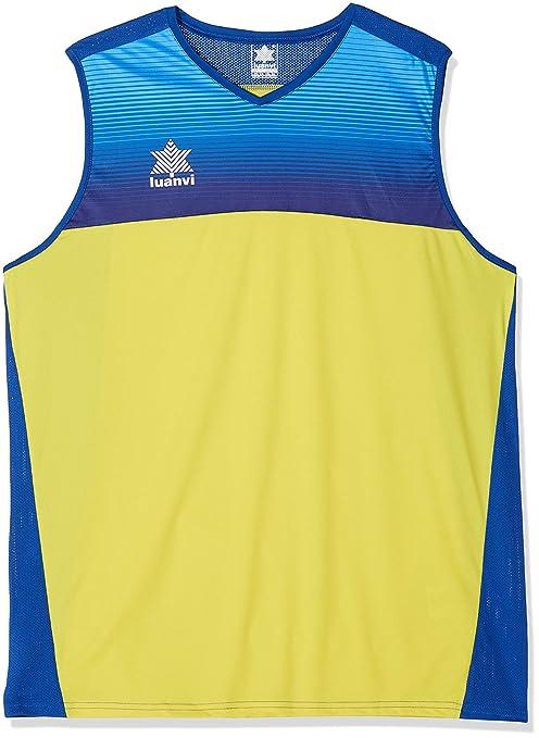 Luanvi Portland Camiseta Especializada de Baloncesto, Unisex Adulto, Amarillo/Azul, XXL