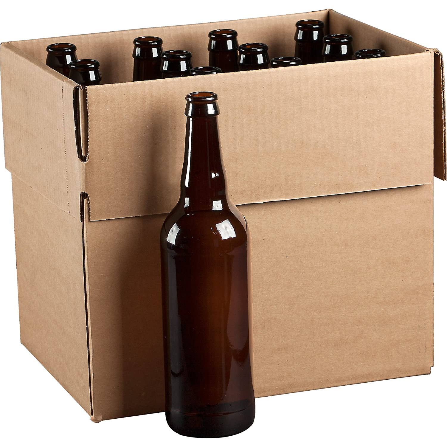 The Cary Company 30WBG2 22 oz. Bomber GLASS Beer Bottles, Pry-Off, Amber (Pack of 12)