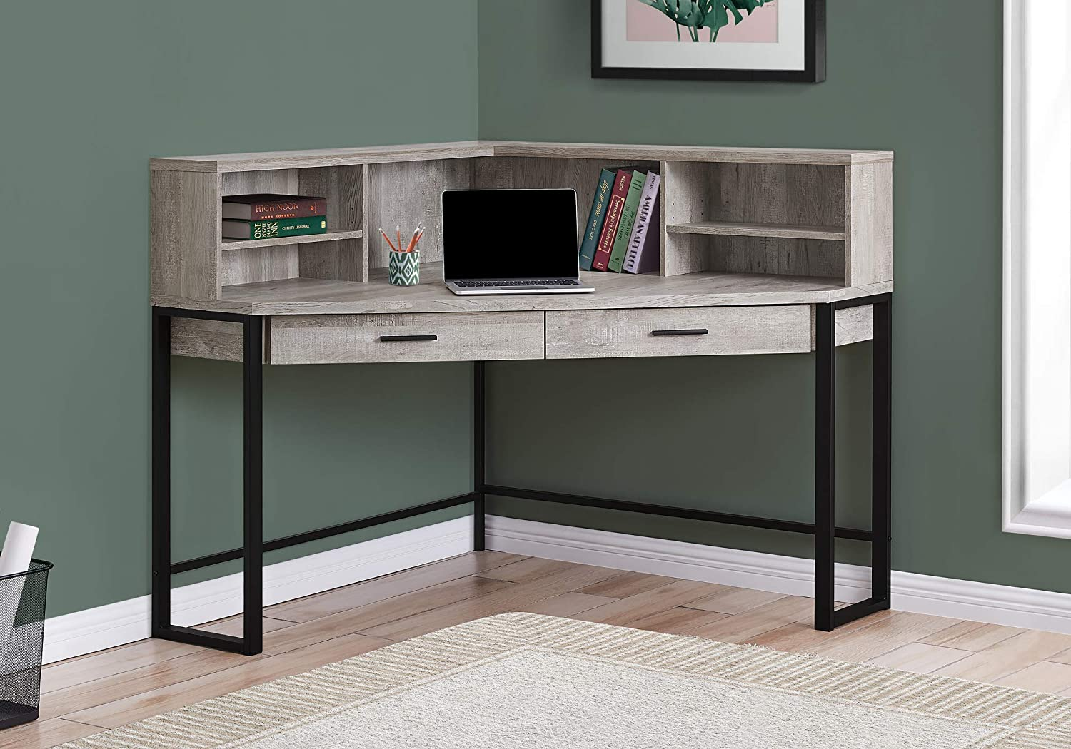 "Monarch Specialties Corner Desk with Hutch & Storage Home Office Laptop PC  Study Table-Workstation, 50"" L, Taupe Reclaimed Wood Look"