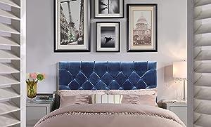 Chic Home Rivka Headboard Velvet Upholstered Diamond Button Tufted Modern Transitional, King, Navy