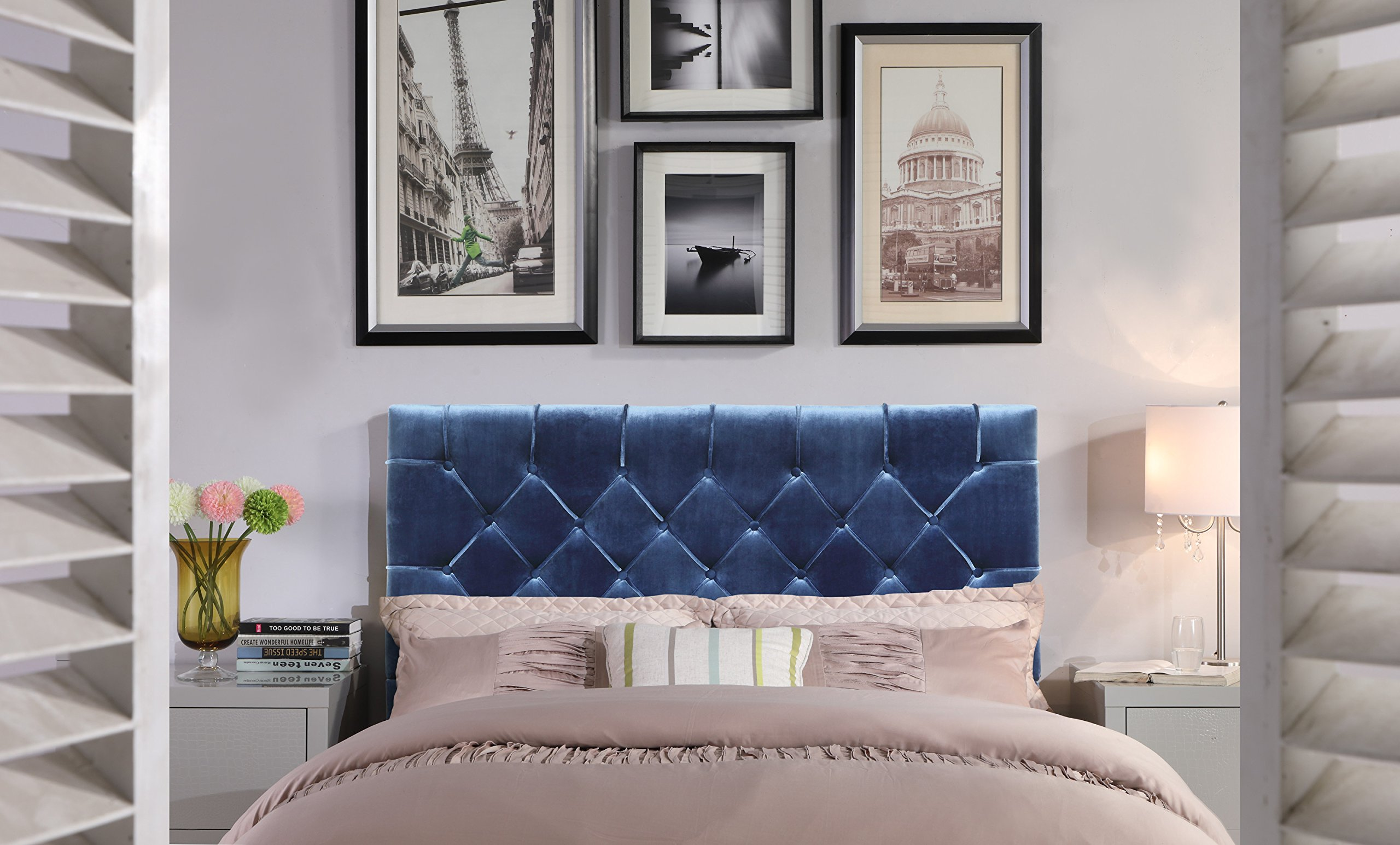 Iconic Home FHB9027-AN Rivka Headboard Velvet Upholstered Diamond Button Tufted Modern Transitional Full/, Queen, Navy by Iconic Home