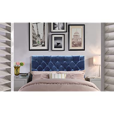 Iconic Home FHB9027-AN Rivka Headboard Velvet Upholstered Diamond Button Tufted Modern Transitional Full, Queen, Navy