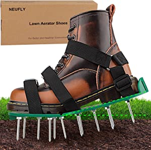 NEUFLY Lawn Aerator Shoes, Newest Foldable Ergonomics Lawn Aerator Scarifier Free Size Lawn Aerator Spike Shoes for Lawn or Yard - Green