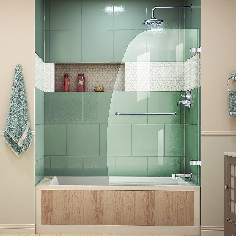 Dreamline Aqua Uno 34 In W X 58 In H Frameless Hinged Tub Door In