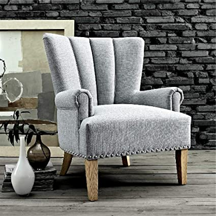 Amazoncom Gray Accent Chairs With Arms Soft Linen Look Fabric