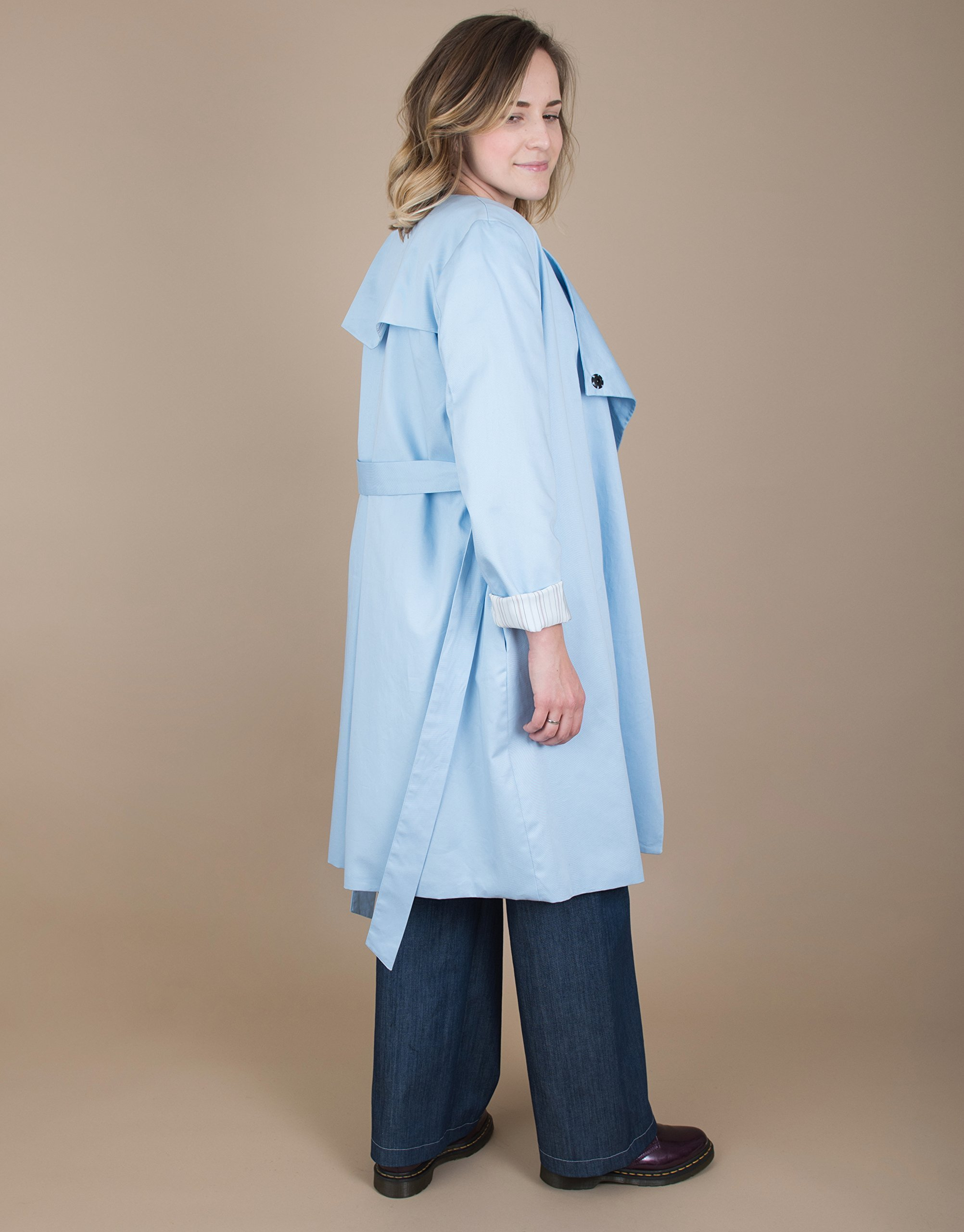 Long Sleeve Belted Sky Blue Trench Coat
