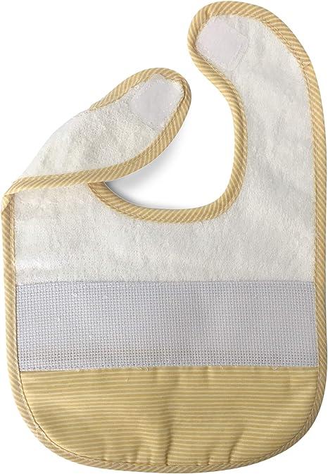 Babero de algodón para bebé niña con cierre de cordones o velcro y tela aida para poder bordar el nombre 1 pieza A Righe Giallo: Amazon.es: Bebé