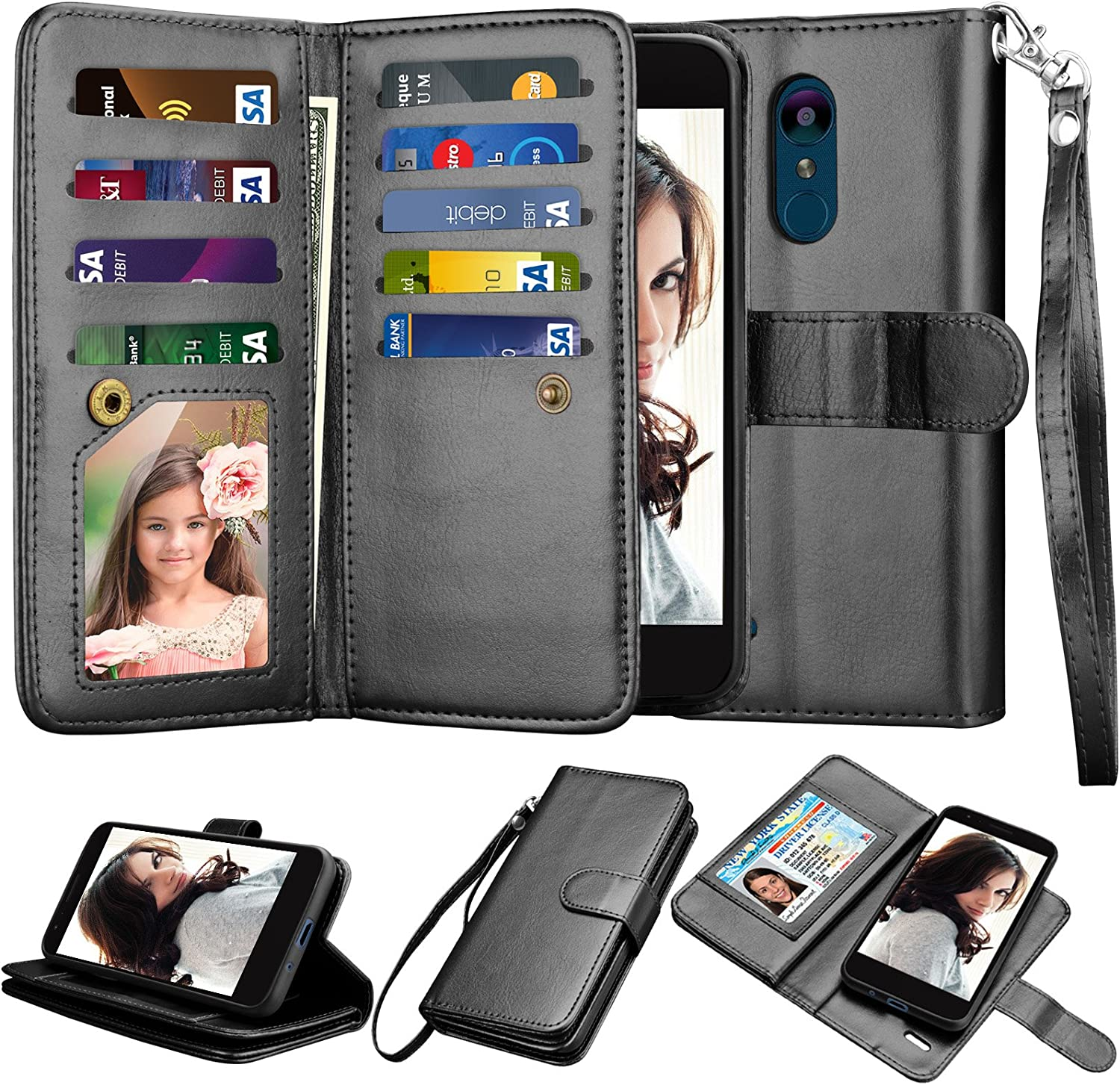 Njjex LG Aristo 2/Aristo 3/Phoenix 4/Rebel 4 LTE/Tribute Empire/Tribute Dynasty/Zone 4/Fortune 2/Rebel 3 LTE/Risio 3/K8 2018 Wallet Case, PU Leather Credit Card Slot Holder Flip Lanyard Cover [Black]