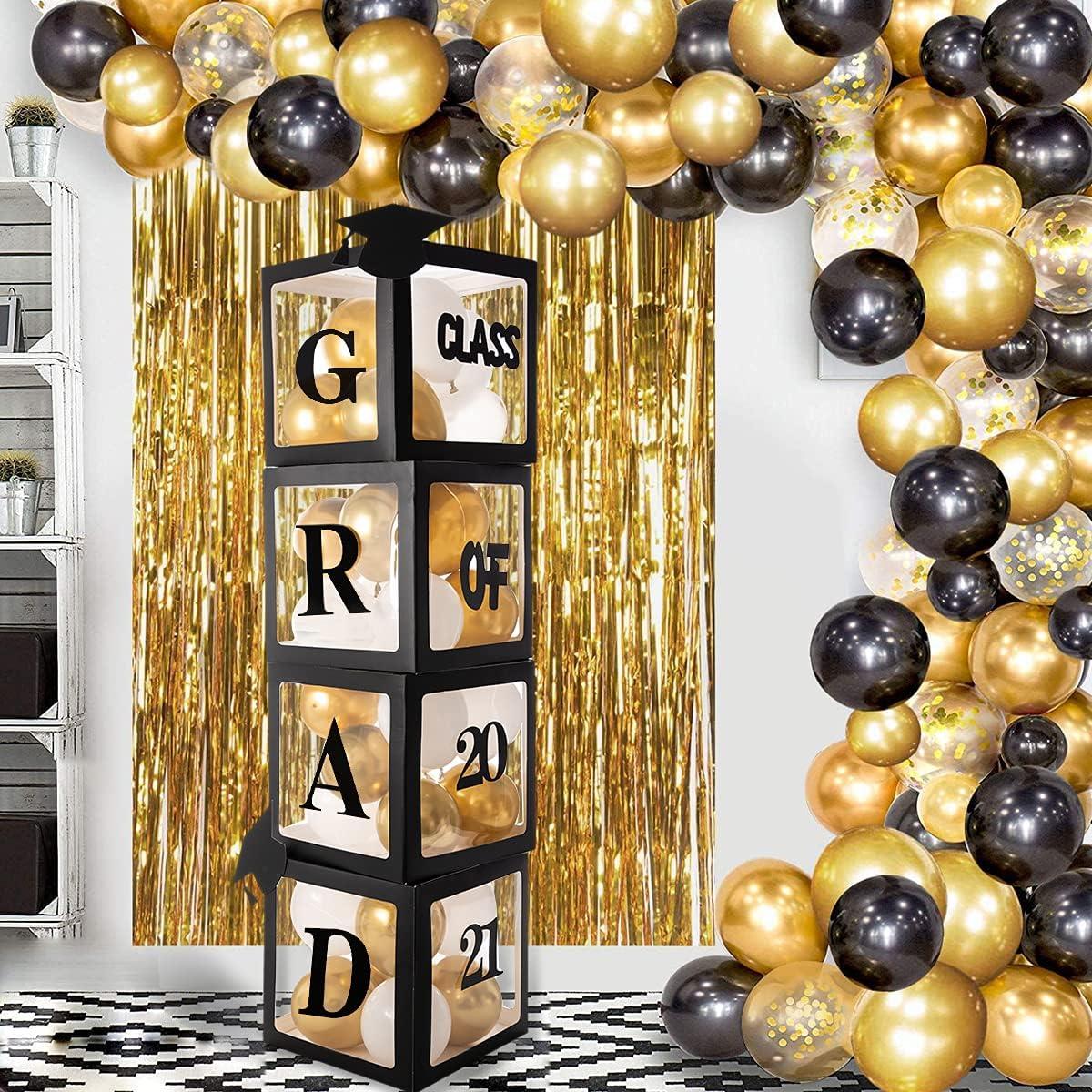 """2021 Graduation Balloon Boxes Decorations, 4 pieces Black Graduation Party Balloons Boxes with """"GARD"""" """"Class of 2021"""" Letters, Little Cap Graduation Decorations for Congrats Grad 2021 Decor"""