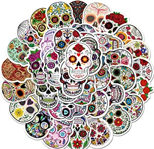 50Pcs Sugar Skull Stickers Laptop Skull Decals Dia de Los Muertos Mexican Day of The Dead Sticker Bomb Water Bottle Luggage Bike Computer Skateboard Vinyl Decal Pack of Teens Girls Boys Adults (Skull)