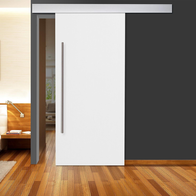 Deslizamiento estructura de madera Colour blanco 900 x 2050 mm enlaces DIN y a la derecha con 2 pasamanos de acero inoxidable y sistema de corredera ALU: Amazon.es: Bricolaje y herramientas