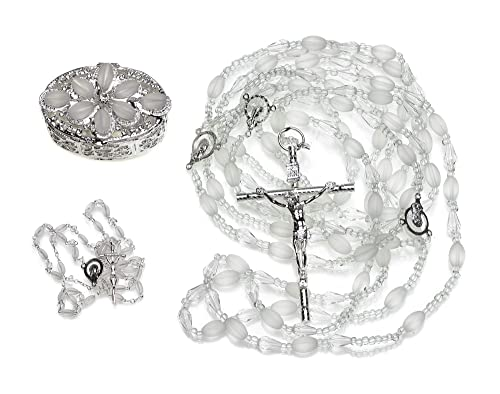 Frosted Olive 3-Item SET 622S – Wedding Lazo Rosary Arras Silver – Swarovski Crystal Wedding Lasso