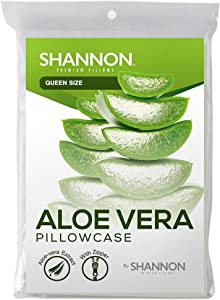 Aloe Vera Fiber Pillowcase Protector with Zipper - 100% Hypoallergenic & Dust Mites Resistant - Noiseless, Soft and Cooling Protection for Queen/Standard Bed Pillows 20x30 - Zippered Encasement
